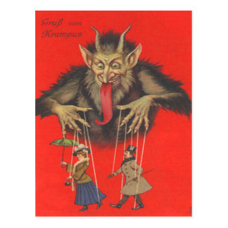 Krampus Puppeteering Adults Postcard