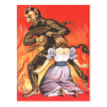Krampus que castiga a la mujer tarjetas postales