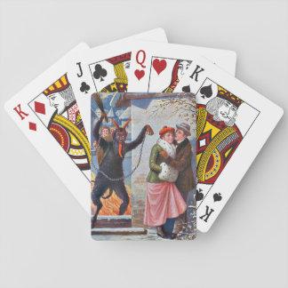 Krampus que castiga a malos adultos cartas de póquer