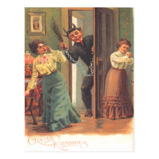 Krampus que castiga a mujeres postal