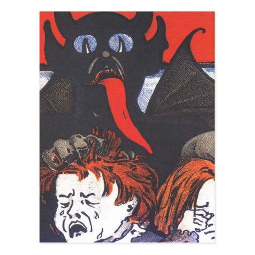 Krampus que castiga a niños postales