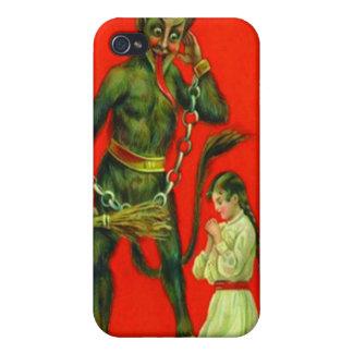 Krampus que castiga a un mún chica iPhone 4 carcasa