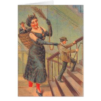 Krampus que castiga al mún hombre tarjeta de felicitación