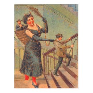 Krampus que castiga al mún hombre tarjeta postal