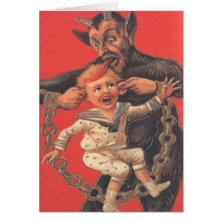 Krampus que castiga Little Boy Felicitacion