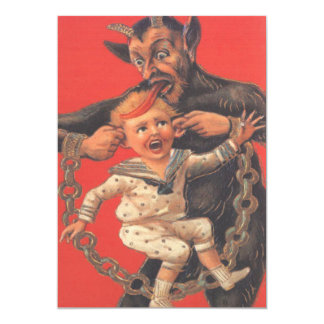 """Krampus que castiga Little Boy Invitación 5"""" X 7"""""""