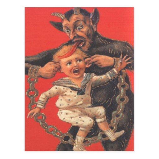 Krampus que castiga Little Boy Postales