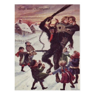 Krampus que castiga nieve de los niños postal