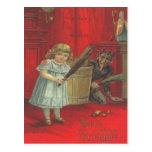 Krampus que juega con el chica tarjetas postales