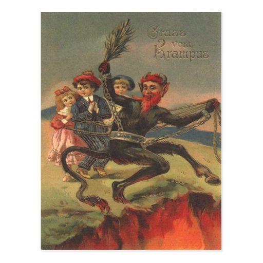 Krampus que lleva a malos niños al infierno postales