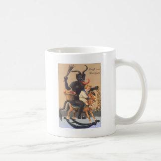 Krampus que monta Hobbyhorse con el muchacho Taza Clásica
