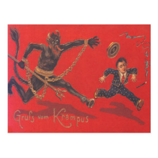 Krampus que persigue al niño tarjeta postal