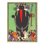 Krampus que recoge a la mala gente tarjetas postales