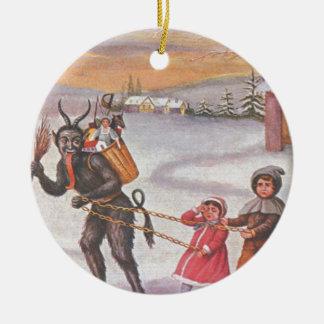 Krampus que roba los juguetes y a los niños adorno navideño redondo de cerámica