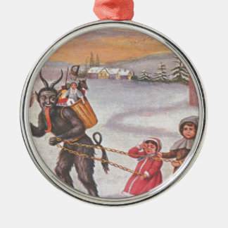 Krampus que roba los juguetes y a los niños adorno navideño redondo de metal