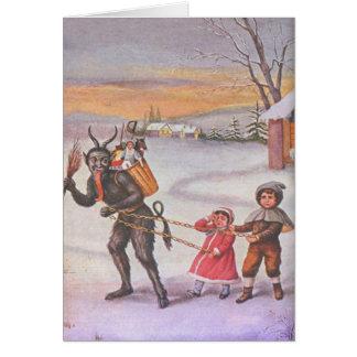 Krampus que roba los juguetes y a los niños tarjeta de felicitación