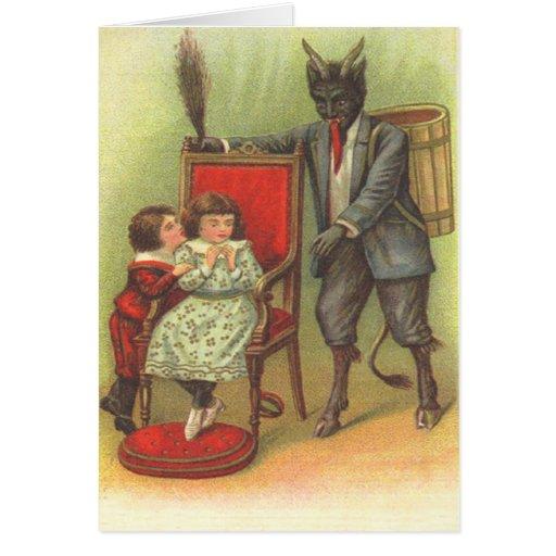 Krampus que viene para los malos niños tarjeta de felicitación