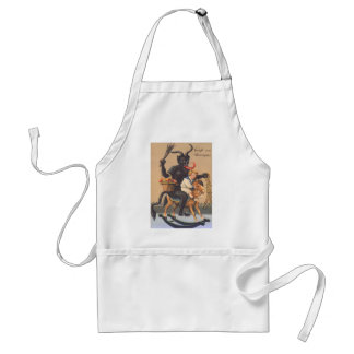 Krampus Riding Hobbyhorse With Boy Adult Apron