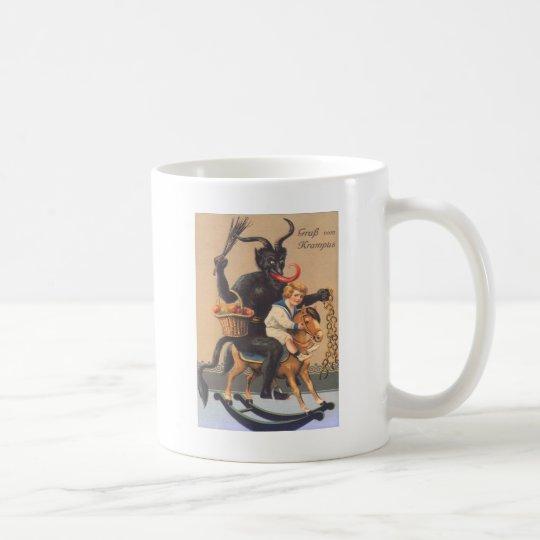 Krampus Riding Hobbyhorse With Boy Coffee Mug