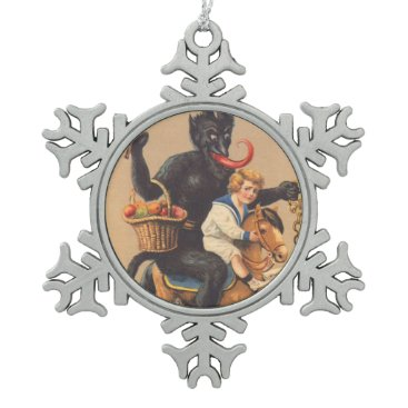 Christmas Themed Krampus Riding Hobbyhorse With Boy Snowflake Pewter Christmas Ornament