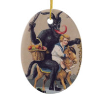 Krampus Rocking Horse Ceramic Ornament