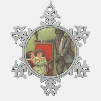 Krampus Scaring Children Snowflake Pewter Christmas Ornament