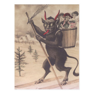 Krampus Skiing Kidnapping Women Postcard