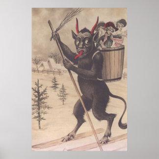 Krampus Skiing Kidnapping Women Poster