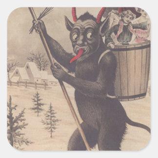 Krampus Skiing Kidnapping Women Square Sticker