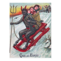 Krampus Sled Postcard