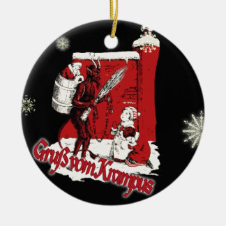 Krampus Snow Day Double-Sided Ceramic Round Christmas Ornament