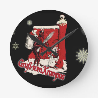 Krampus Snow Day Round Clock