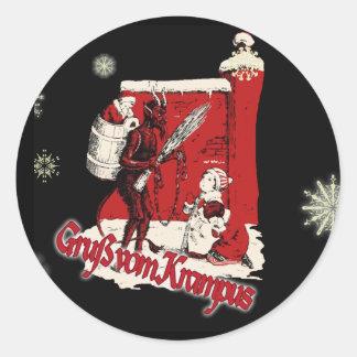 Krampus Snow Day Classic Round Sticker
