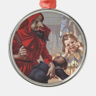 Krampus Spanking Child Metal Ornament