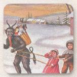Krampus Stealing Toys & Children Coasters