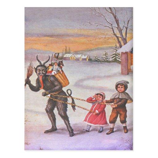 Krampus Stealing Toys & Children Post Card
