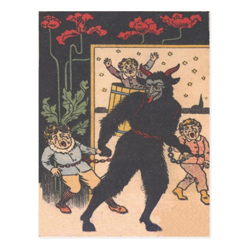 Krampus Taking Away Bad Children Postcard