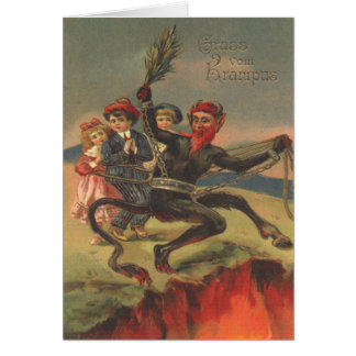 Krampus Taking Bad Children To Hell Greeting Card
