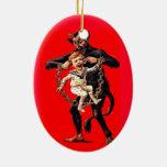 Krampus viene para el mún ornamento del navidad de adorno navideño ovalado de cerámica