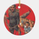 Krampus With Bad Children Ceramic Ornament