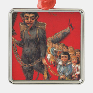 Krampus With Bad Children Metal Ornament