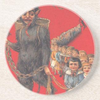 Krampus With Bad Children Sandstone Coaster