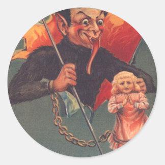 Krampus With Girl & Pitchfork Classic Round Sticker