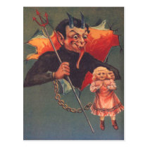 Krampus With Girl & Pitchfork Postcard