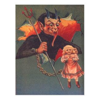 Krampus With Girl & Pitchfork Postcard