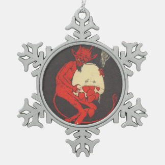 Krampus With Hearts Snowflake Pewter Christmas Ornament