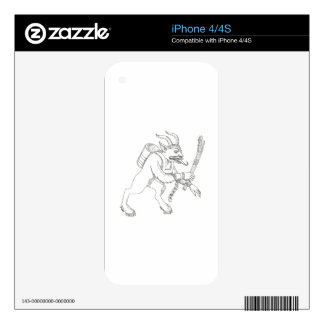 Krampus With Stick Doodle Art Skin For iPhone 4S