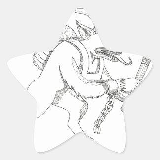 Krampus With Stick Doodle Art Star Sticker