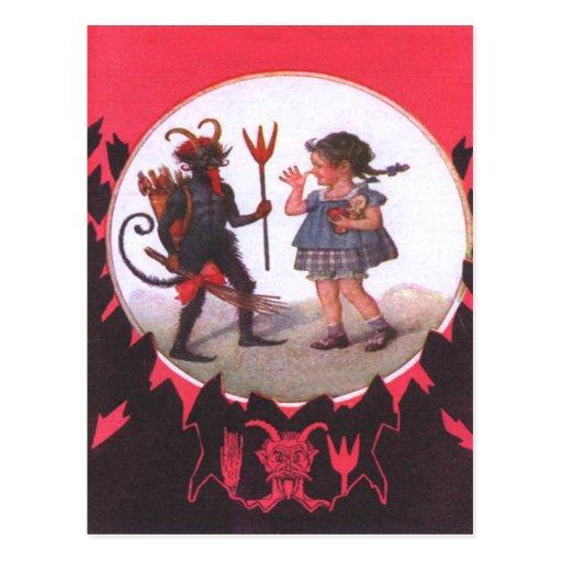 Krampus y niña postal