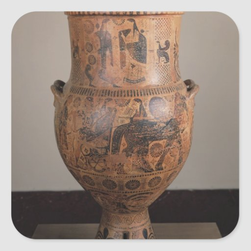 Krater depicting the departure of Hercules Square Sticker